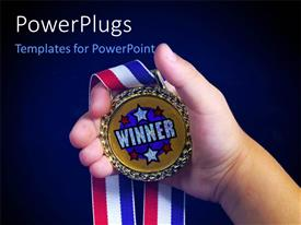 Theme featuring hand holdingwinnersmedal with multicolored ribbon on blue background