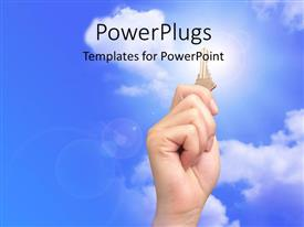 Elegant presentation theme enhanced with hand holds up gold key over blue cloudy sky