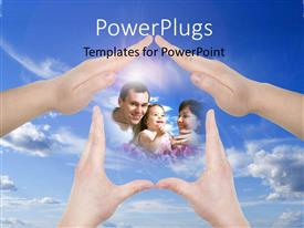 Colorful slide set having hand home gestures showing family concept with sky