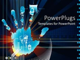 Colorful PPT theme having a hand print with technological background