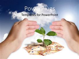 Amazing PPT theme consisting of hand protecting green plant sprouting from currency notes on white surface