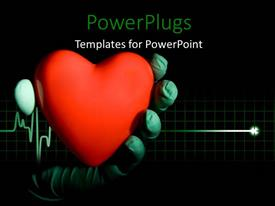 PPT theme having hand in surgical gloves holding red heart symbol over cardiogram pulse