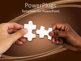 PPT theme featuring hand of a white person and a black person uniting jigsaw puzzle pieces together