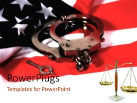Amazing presentation consisting of handcuffs and key on American flag with law weighing scale