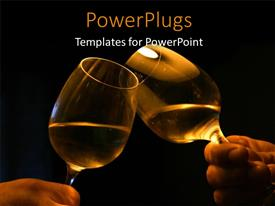 Audience pleasing PPT theme featuring hands holding wine glasses over black background with glasses clinging