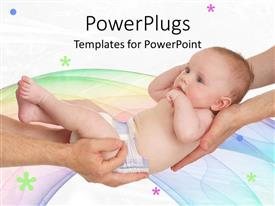 Amazing PPT theme consisting of hands of mom and dad holding newborn baby on bright background