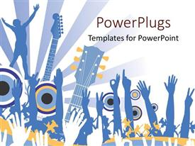 Beautiful PPT theme with hands raised in the air for music concert with guitars and light rays on white background