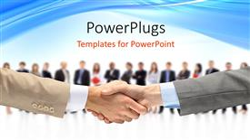 Colorful PPT theme having a professional handshake with people in background