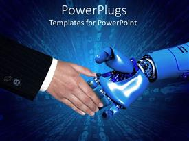 PPT theme having handshake between business man in black suit and robotic arm with blue background