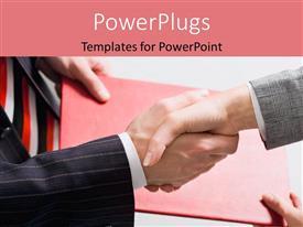 Elegant slides enhanced with handshake between business men over document depicting business agreement
