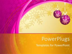 PPT theme having hanging purple decorative ornaments with snowflakes in winter