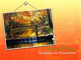 Beautiful presentation design with hanging sign with bridge and trees in autumn