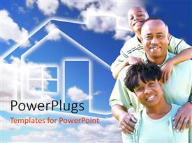 Beautiful PPT layouts with happy Afro-American family and house symbol with sky