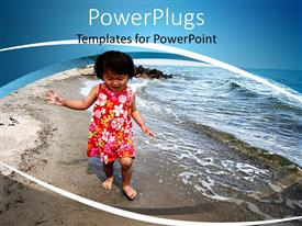 Presentation design having happy Asian child walking barefoot on beach