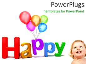 Amazing slide set consisting of a happy baby with a lot of balloons and white background