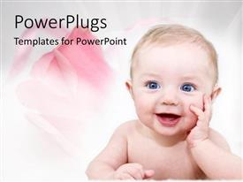 Presentation design enhanced with happy baby with pink roses for family on white background