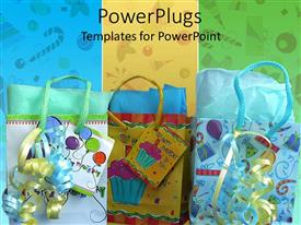 Audience pleasing PPT theme featuring happy birthday theme with gift bags and ribbons