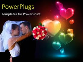 Presentation featuring happy couple with flower bouquet hugging with glowing colorful heart shapes