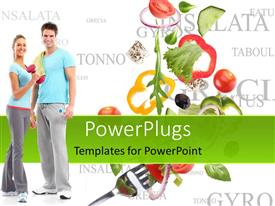 Elegant theme enhanced with happy couple having healthy vegetable diet and exercising for fitness