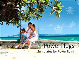 Vacation powerpoint templates ppt themes with vacation backgrounds colorful presentation having happy family mom dad and two kids on swinging bench on template size toneelgroepblik Image collections