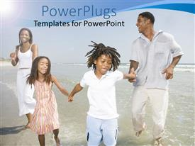PPT theme with a happy family playing in the sea
