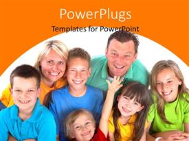 Audience pleasing presentation design featuring happy family of seven smiling over white background