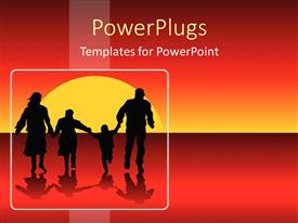 Theme enhanced with happy family silhouettes running into sunset