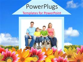 Presentation design having happy family sitting by 2D house in colorful flower field