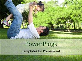 PPT theme consisting of happy father and little girl on the grass with trees
