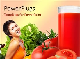 Amazing PPT theme consisting of a happy girl with a glass of juice and tomatoes