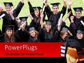 Elegant PPT theme enhanced with happy graduating students with diplomas raised high and graduation cap on book pile