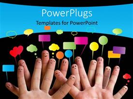 Colorful PPT layouts having happy group of finger smiley with speech bubbles