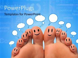 PPT theme consisting of a pair of feet with a bluish background