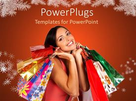 Amazing presentation theme consisting of a happy lady after shopping for Christmas along with red background