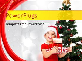 PPT layouts enhanced with happy little boy with Santa cap receives Christmas gift box