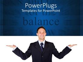 PPT layouts featuring happy man in suit on white and blue background