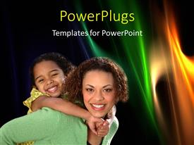 Beautiful presentation theme with happy mother carries child on back over abstract background
