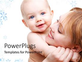 Audience pleasing presentation design featuring happy mother carrying beautiful baby in hand with colorful background