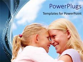 Presentation design consisting of happy mother and daughter smiling with cloudy sky in background