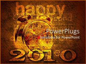 Audience pleasing slide deck featuring happy New year and 2010 text with an alarm clock on a yellow background