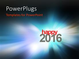 Slide deck having happy New year 2016 with zoom in blurred glowing blue background