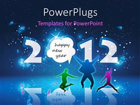 Slides consisting of happy new year celebration with people dancing over star filled night sky