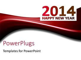 Beautiful PPT theme with happy new year depiction with new year text on white background