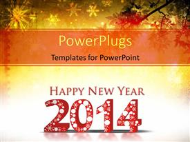 Presentation design enhanced with happy New year depiction with snowflakes in grunge background
