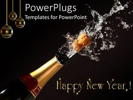 PPT layouts featuring happy New Year theme with champagne bottle opening, gold Christmas ornaments, black background