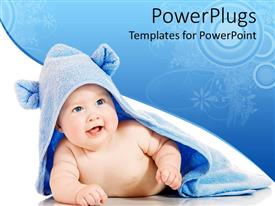 Audience pleasing presentation theme featuring happy smiling newborn baby covered by blue soft bath towel