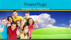 PPT theme with lots of you people smiling happily and giving thumbs up