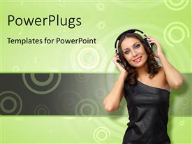 PPT theme with happy young woman with headphones on over green background with concentric circles