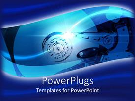Amazing PPT layouts consisting of a hard drive placed inside a machine with blue background