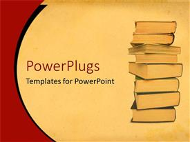 Audience pleasing PPT theme featuring hardcover books stacked high to study and read on tan background